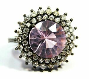 Certified Kunzite All Occasions Unique Design Silver Plated Ring SIZE 8