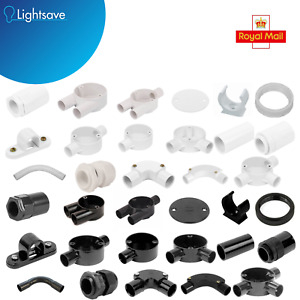 20MM 25MM PVC Conduit Bends Boxes Adaptors Elbows Tee Coupler Saddles Clips Box