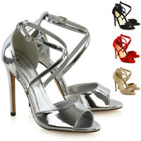 Womens Ankle Strap Stiletto High Heel Sandals Ladies Peep Toe Party Prom Shoes