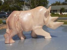 Vintage African Soapstone Rhino Rhinoceros Hand carved statue made from Kenya