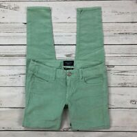 American Eagle Jegging Size 0 Corduroy Jeans Skinny Super Stretch Pants Green