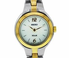 PRE-OWNED $215 Seiko Women's Two Tone Stainless Steel White Dial Watch SUP024