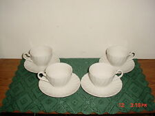 """8-PC JOHNSON BROTHERS """"REGENCY"""" WHT SWIRL COFFEE CUPS-SAUCERS/ENGLAND/CLEARANCE!"""