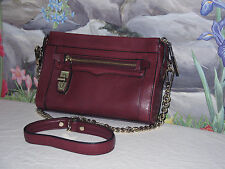 New REBECCA MINKOFF 'Crosby' Cranberry/Wine Leather w Gold Chain Crossbody Bag