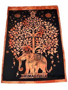 Dorm Decorative Indian Elephant Tree of Life Wall Hanging Poster Size Batik Boho