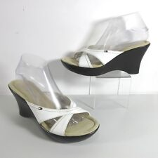95048f2c8aec Tommy Hilfiger Size 9 M White Criss Cross Leather Strap Open Toe Wedge Slide