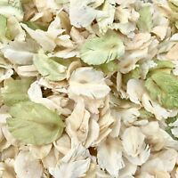 Natural Biodegradable Wedding Confetti Green Ivory Petals, Dried Vintage Flower
