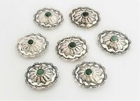 VNTG 925 Sterling & Green Turquoise OLD PAWN Navajo Set of Conchos Ready for use