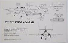 Vintage Grumman F9F-8 Cougar Aircraft Drawing Set DS-48-11 to scale 1981