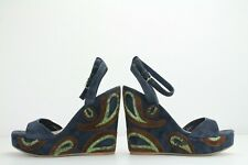 Miu Miu Python-Trimmed Paisley Suede Navy Wedge Sandals, Size 6.5 UK / 39.5 EU