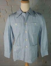 Vintage 70s Chambray Denim Cotton Jacket Shirt Hippie OG Pimp Fleck L Big Collar