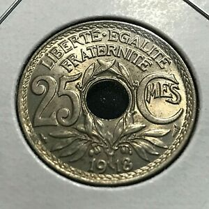 1918 FRANCE 25 CENTIMES BRILLIANT UNCIRCULATED