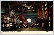 View of West High Street at Night in Columbus, Ohio Divided Back Postcard