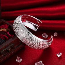 "Fashion Women 925 Silver scratch Cuff Bracelet Bangle Chain Wristband 2.3"""