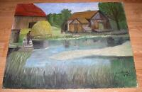 AMERICANA VINTAGE FOLK ART PRIMITIVE FISHING POND FARM GARDEN WHEAT DOG PAINTING