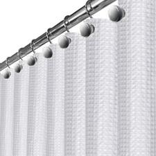 Creative Scents Waffle Fabric White Shower Curtain - Includes Peva Shower Liner