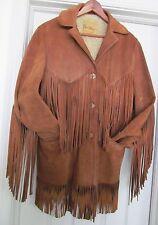 DEER WEAR Western Cowhide Leather Sheepskin Jacket Coat Fringe Brown 36 VINTAGE