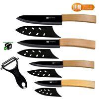 5 Couteaux céramique manche en bois + étui - 18 à 27 cm - + Économe offert