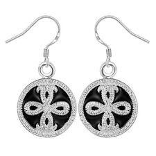 Damen Ohrring rund schwarz Ohrstecker Ohrringe pl. mit Sterlingsilber DO607 T::A