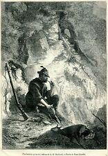 Il Cacciatore Felice: più felice di un re. Stampa Antica + Passepartout. 1880