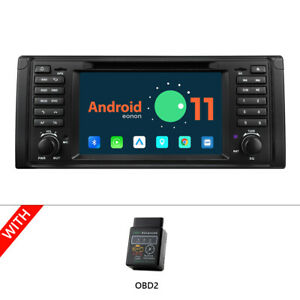 """OBD+ 7"""" Android 11 Car Stereo Radio DVD GPS WiFi for BMW 5 Series E39 1995-2002"""