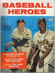 1958 Baseball Heroes magazine Hank Aaron, Red Schoendienst Milwaukee Braves FAIR