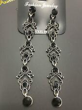 Rings`Ears Nails Silver Long Filigree Black Art Deco Vintage Class BB11