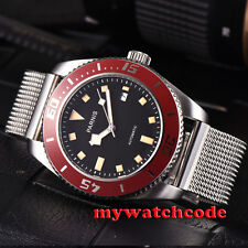 43mm parnis black dial miyota automatic mens watch red bezel sapphire glass P591