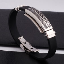 "Unisex Men Women's Stainless Steel Rubber Silicone Bracelet black 8"" G8"