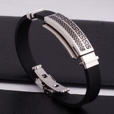 """Unisex Men Women's Stainless Steel Rubber Silicone Bracelet black 8"""" G8"""