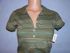 NEW Aeropostale Junior Girls Olive Green Striped Polo Shirt Size M Medium