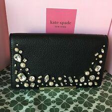 New Kate Spade make it mine Black Leather With Crystals Flap