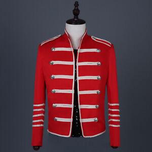 Men Military Hussar Jacket Artillery Tunic Uniform Drummer Rock Band Blazer Cool