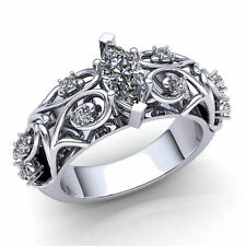1.5carat Marquise Cut Diamond Ladies Bridal Fancy Engagement Ring 18K Gold
