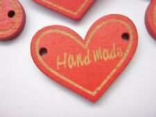 """10 Handmade Heart Buttons 30mm (1 1/8"""") Heart Connectors Valentines Day Crafts"""