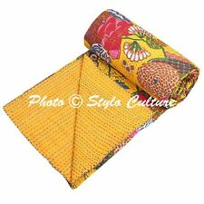 Indian Quilt Blanket Twin Cotton Printed Bed Cover Tropical Fruit Kantha Quilts