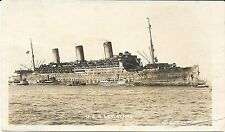 RPPC of the USS Leviathan as a Troop Ship Arriving in Port c1917