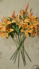 Orange Daylillies flowers faux silk artificial daylilly floral stems