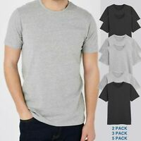 Mens Basic T-Shirt Plain Crew Neck Slim Fit Short Sleeve Cotton 2,3,5 Pack