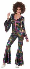 Womens Disco Fancy Dress Costume Jumpsuit  70s Dress Up New