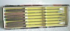 Vintage Fondue Forks 6 Mid-Century SS Wood Handle Color end Tips