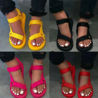Womens Summer Casual Peep Toe Sandals Ladies Ankle Strap Flat Shoes Size Fashion