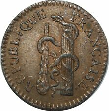 O72 RARE !! Convention Essai 10 centimes An 3 1794 faisceau massue serpent SUP