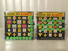 Lot Of 2 Vintage 50s NSC Magnetic Traffic Sign Bingo Metal Road Trip Car Game