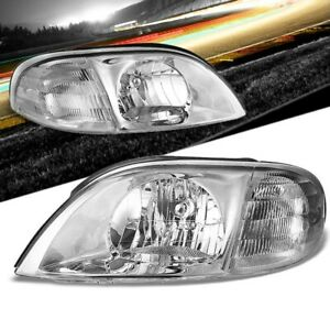 Chrome Housing/Clear Lens OE Reflector Headlight For 99-03 Ford Windstar 3.0L