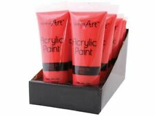 3 x Red Art Acrylic Paint Tube Set All Colours Crafts Artists Painter 120ml