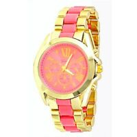 2 Tone Pink Gold Watch Designer Fashion Women Ladies Geneva