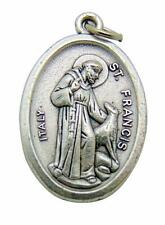 "Saint Francis w/ Wolf Medal 3/4"" Metal Catholic Saint Pendant Gift Made in Italy"