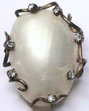 RARE ART DECO HATTIE CARNEGIE MOTHER PEARL RHINESTONE DRESS/SCARF/FUR CLIP PIN