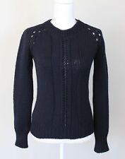 M. PATMOS 100% Merino Wool Chunky Thick Knit Navy Blue Sweater, Size XS